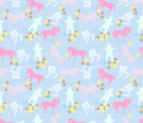 Rocking Chairs and Horses: A Mackinac Island Summer fabric by woolboxstudio on Spoonflower - custom fabric