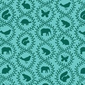 Animal Vines pattern, aqua colorway