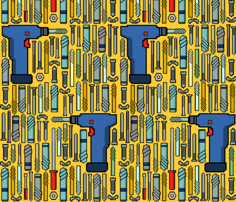 8 Bits and a Drill fabric by elramsay on Spoonflower - custom fabric