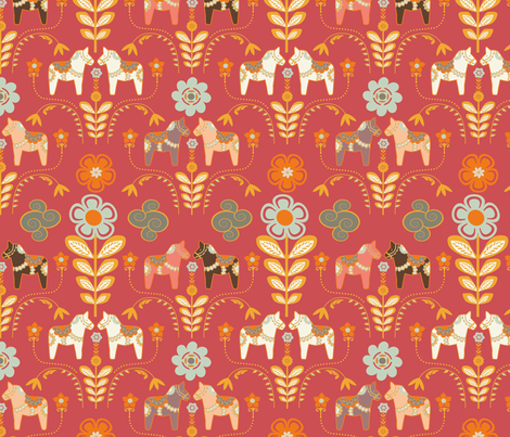 dala_horse_paste_multico rouge_M fabric by nadja_petremand on Spoonflower - custom fabric