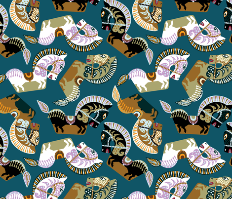 Kuda Kepang, Javanese Horses fabric by ravenous on Spoonflower - custom fabric