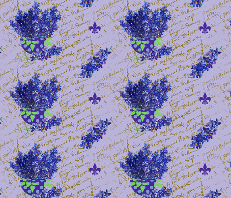 Delphinium on lavender french script_edited-2 fabric by karenharveycox on Spoonflower - custom fabric