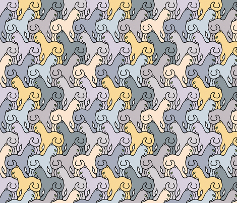 Happy Cats - Natural with Border fabric by elramsay on Spoonflower - custom fabric