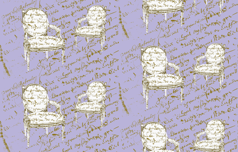 Two French Chairs on Lavender fabric by karenharveycox on Spoonflower - custom fabric
