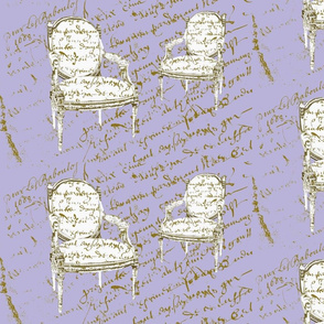 Two French Chairs on Lavender