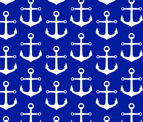 ANCHORS ROYAL AND WHITE LARGE fabric by juneblossom on Spoonflower - custom fabric