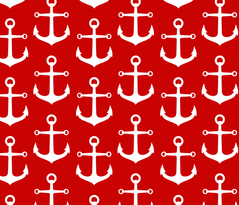 ANCHORS RED AND WHITE LARGE fabric by juneblossom on Spoonflower - custom fabric