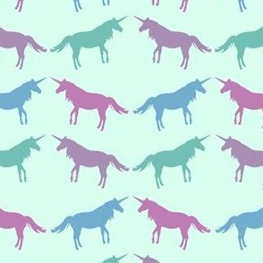Pastel Unicorns on Mint