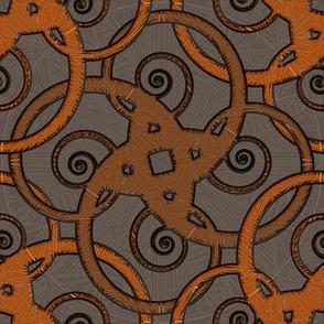 tribal tattoo spiral squares bitter orange