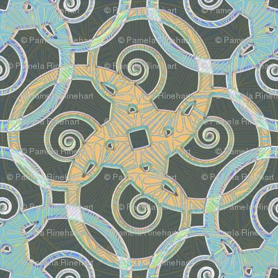 tribal tattoo spiral squares opal sheen fabric glimmericks spoonflower. Black Bedroom Furniture Sets. Home Design Ideas
