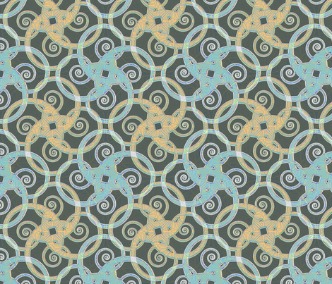 tribal tattoo spiral squares opal sheen fabric by glimmericks on Spoonflower - custom fabric
