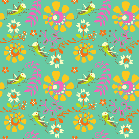 Happy crickets fabric by rachelee_design on Spoonflower - custom fabric