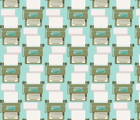 Typewriter_Vintage Mint fabric by kate_legge on Spoonflower - custom fabric