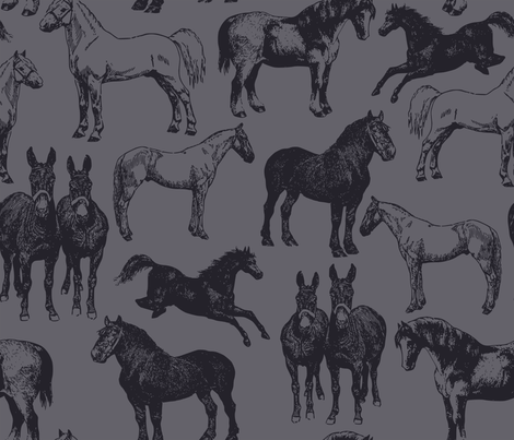 blue_horses_blue fabric by hunter_and_home on Spoonflower - custom fabric