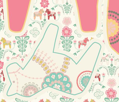coussin_dala_horse_rose    fabric by nadja_petremand on Spoonflower - custom fabric
