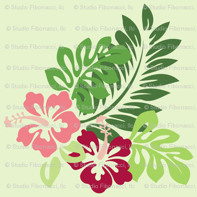 Hibiscus (Green Background)