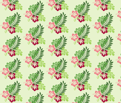 Hibiscus  - Half Size (Green Background) fabric by studiofibonacci on Spoonflower - custom fabric