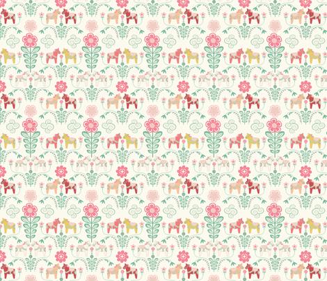 dala_horse_pastel_rose ecru_S fabric by nadja_petremand on Spoonflower - custom fabric