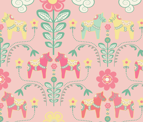 dala_horse_pastel_rose_L   fabric by nadja_petremand on Spoonflower - custom fabric