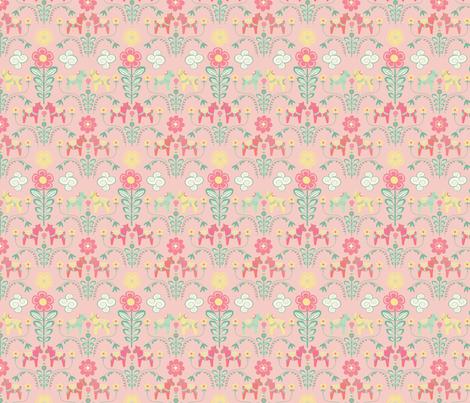 dala_horse_pastel_rose_S    fabric by nadja_petremand on Spoonflower - custom fabric