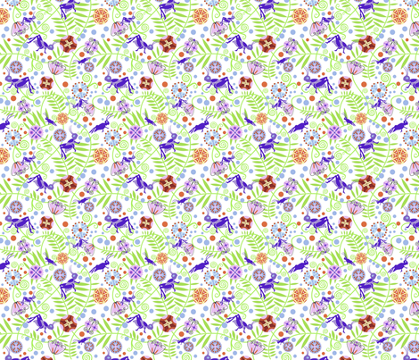Deco Flowers and Crickets fabric by vinpauld on Spoonflower - custom fabric