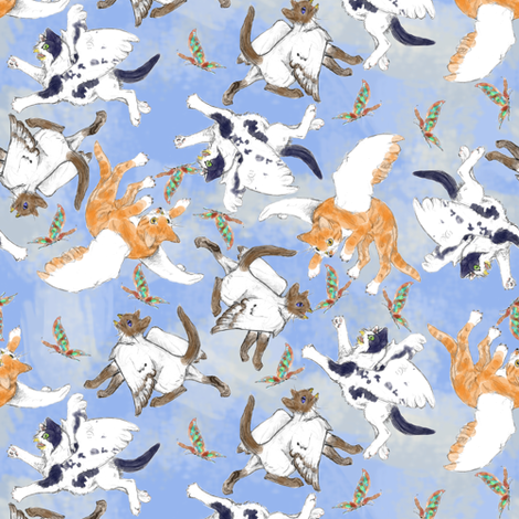 Owlly Kittens fabric by eclectic_house on Spoonflower - custom fabric