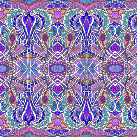 Nouveau Deco Psychedelic Lotus horizontal stripe fabric by edsel2084 on Spoonflower - custom fabric