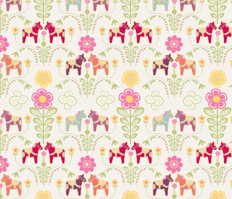 dala_horse_pastel_rose_ecru_M fabric by nadja_petremand on Spoonflower - custom fabric