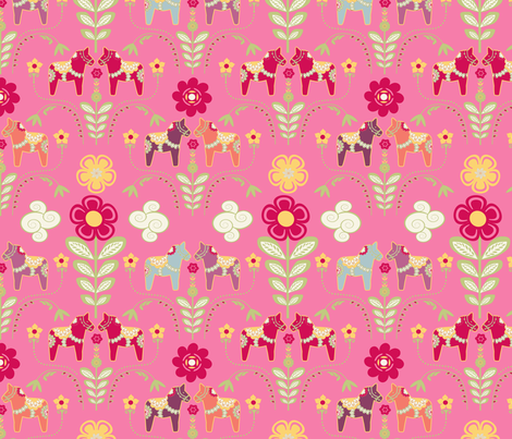 dala_horse_pastel_rose_M   fabric by nadja_petremand on Spoonflower - custom fabric