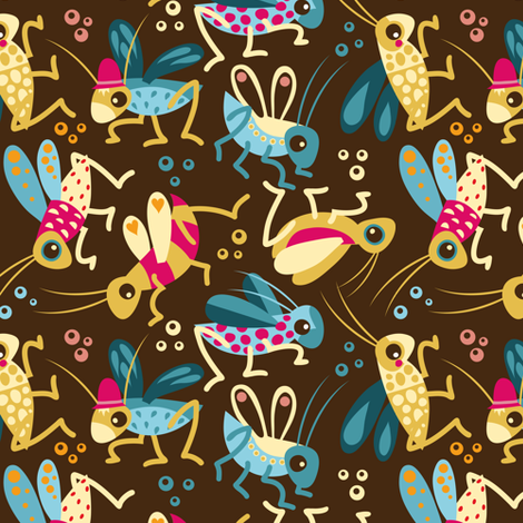 Crickets for little Ladies fabric by verycherry on Spoonflower - custom fabric