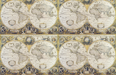 Antique map, borderless fabric by aftermyart on Spoonflower - custom fabric