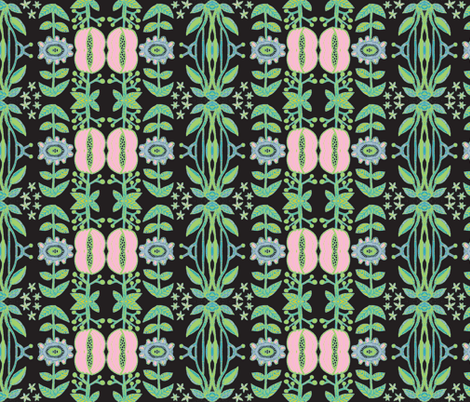 Pink Garden/Pink/Green/Black/Blue fabric by serendipity_textiles on Spoonflower - custom fabric