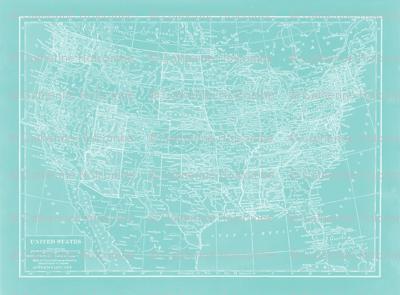 Teal Minimalist US Map