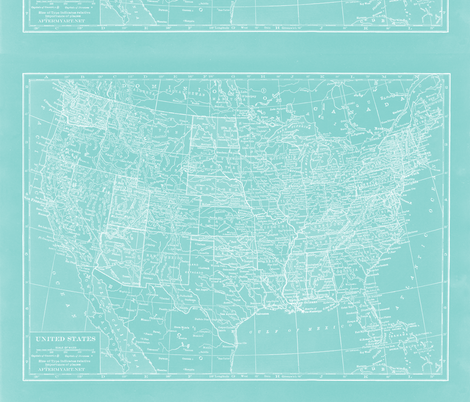 Teal Minimalist US Map fabric by aftermyart on Spoonflower - custom fabric