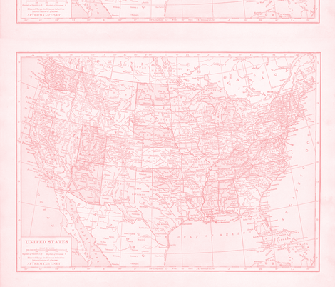 Minimalist Pink map of United States-ed fabric by aftermyart on Spoonflower - custom fabric