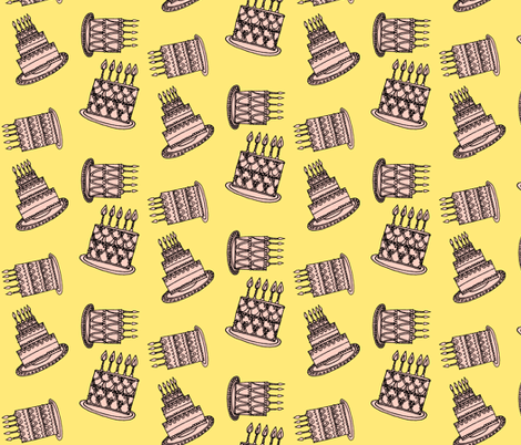 Cakes - pink & yellow fabric by anda on Spoonflower - custom fabric