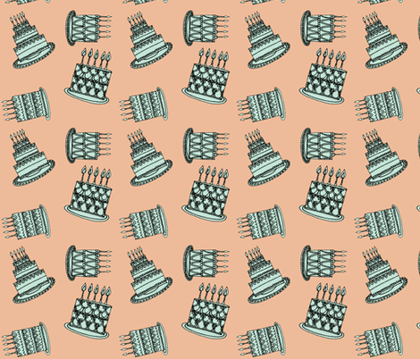 CAKES - peach & teal fabric by anda on Spoonflower - custom fabric