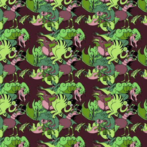 Monsters Burgundy/Green