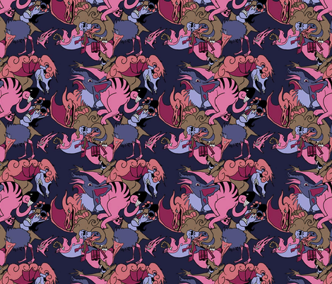 Monsters Blue/Pink fabric by craftyscientists on Spoonflower - custom fabric