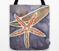 Orange Starfish on Purple Tones with kelp