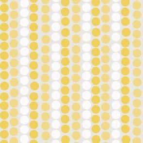 Yellow & White Polka Dot Stripes on Gray