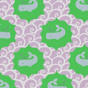Whales on Bright Green with Purple Waves
