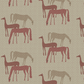 Horses in field lighter linen