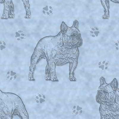 French Bulldog stamp - blue