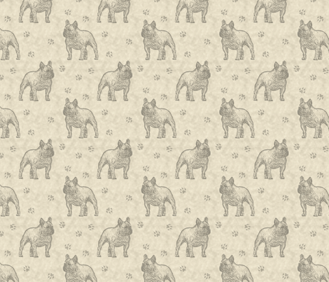 French Bulldog stamp - tan fabric by rusticcorgi on Spoonflower - custom fabric