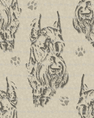 Giant Schnauzer face stamp - tan
