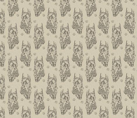 Giant Schnauzer face stamp - tan fabric by rusticcorgi on Spoonflower - custom fabric