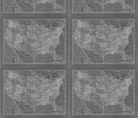 Minimalist Grey and White Map of the United States-ed fabric by aftermyart on Spoonflower - custom fabric