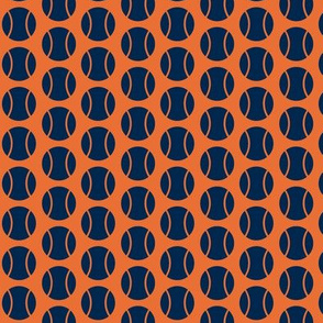 Small Half-Drop Navy/Orange Tennis Balls