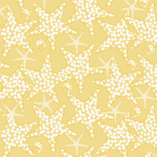 White & Yellow Starfish with Periwinkle Shells